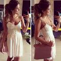 women dress 2016 summer fashion solid white lace party dresses chiffon spaghetti strap hollow out club women's clothing