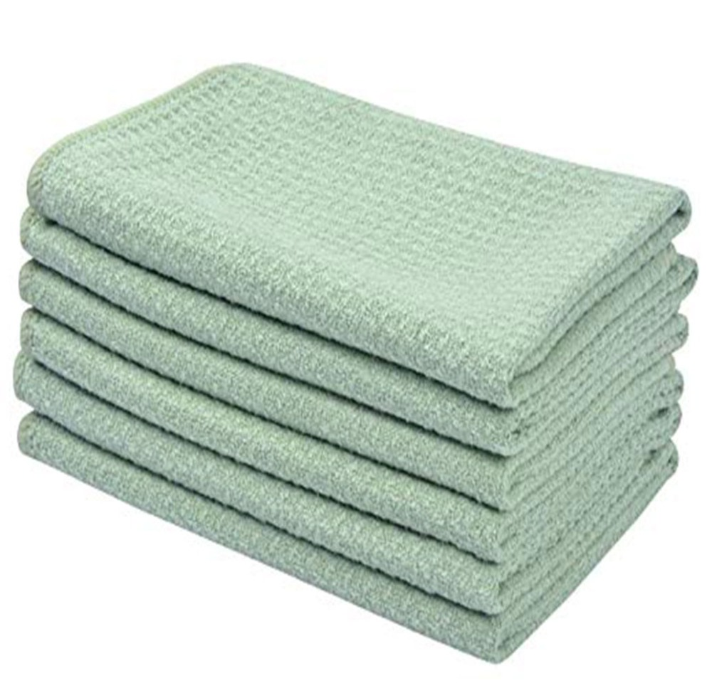 SINLAND Premium Microfiber Washcloth Waffle Weave Facial Cleansing Cloth Body Cloths 6 Pieces 13 Inchx13 Inch Cream in Face Towels from Home Garden