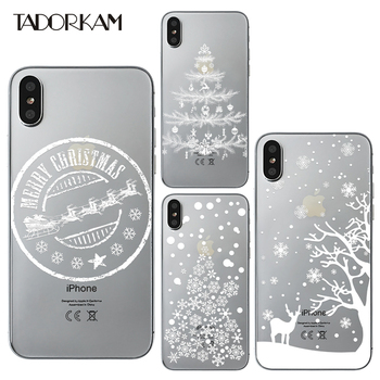 Christmas Tree phone cases For iphone 8 Soft Ultra thin TPU White Winter Snowflake Deer Silicon Transparent Phone Back case iPhone