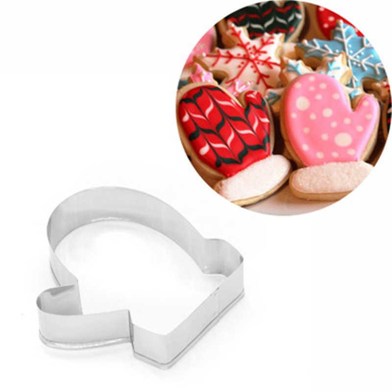 1 шт. из нержавеющей стали печенье резак опционально Рождество Снежинка Санта Клаус перчатки металлическое печенье резак формы для выпекания