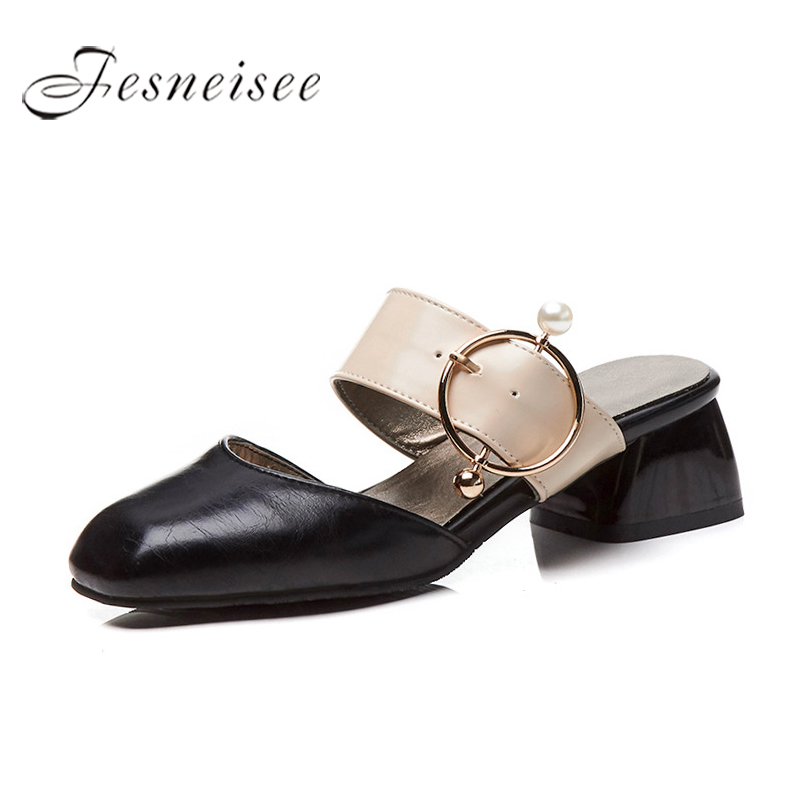 FESNEISEE Big Size 44 Thick Heels Women Slippers Open Toe Metal Decoration Slides Footware 2018 Summer Fashion Ladies Mules Shoe