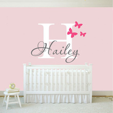 NEW Girls Name Wall Decal Sticker Butterfly Wall Decals Stickers Personalized Name Vinyl Art Home Decoration