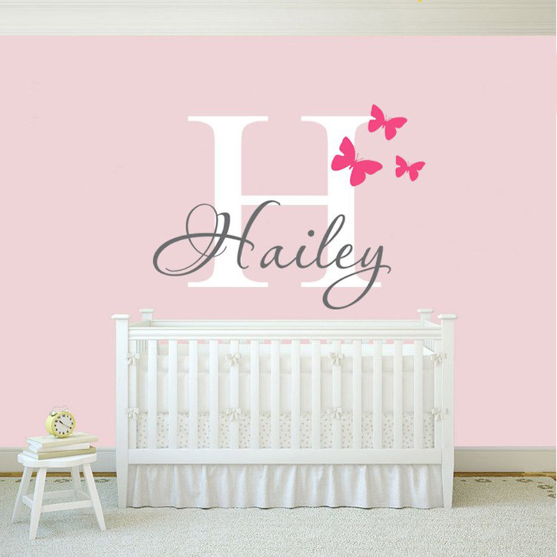 NEW Girls Name Wall Decal Sticker Butterfly Wall Decals Stickers Personalized Name Vinyl Art font b