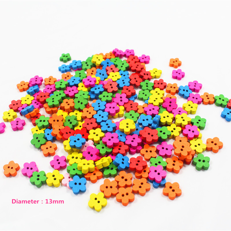 100pcs mix plum blossom wooden buttons clasp factory direct wholesale models hot models wooden buttons 12mm sewing supplies