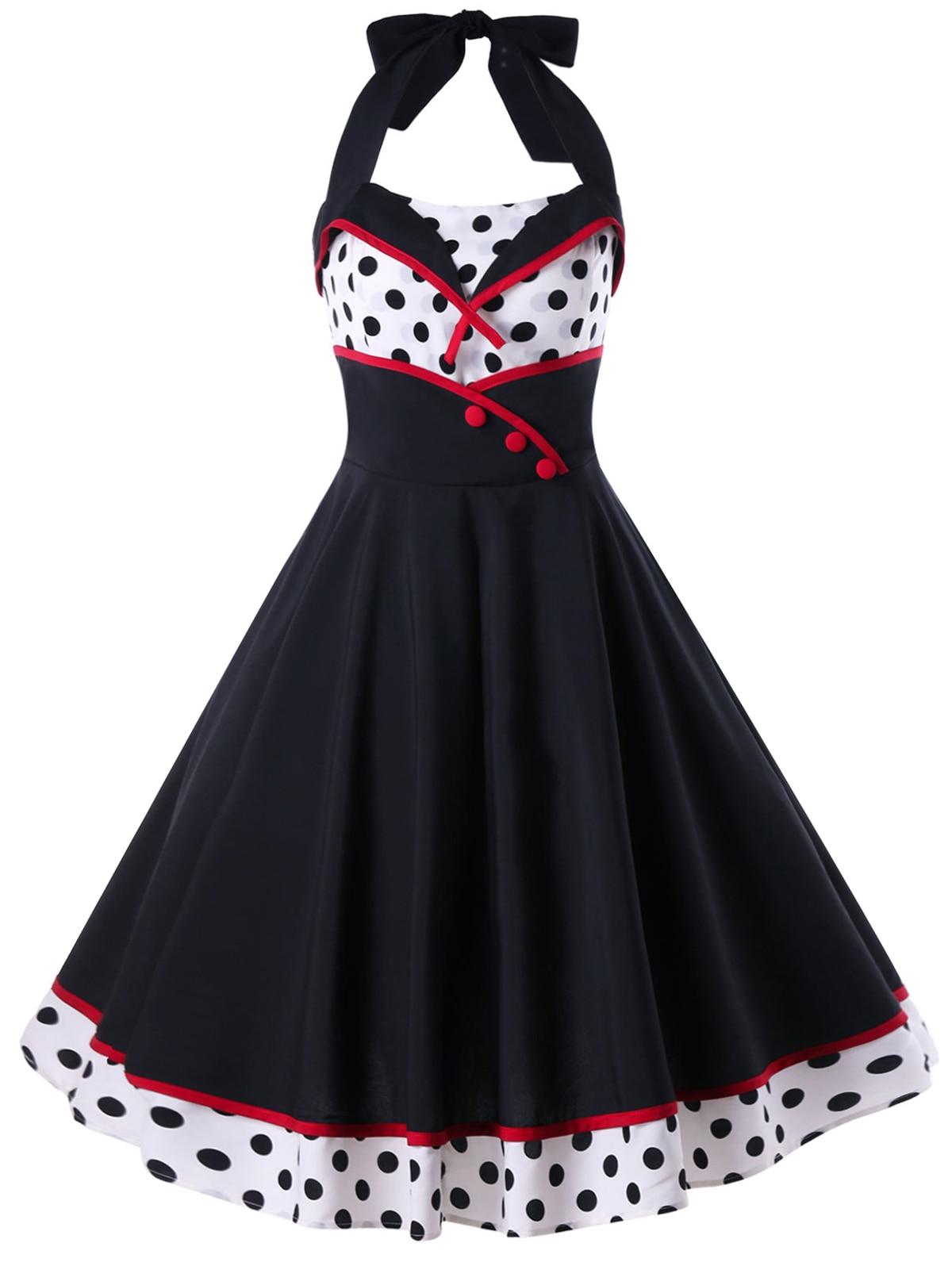 Aliexpress Buy Zaful Polka Dot Print Pin Up Dress