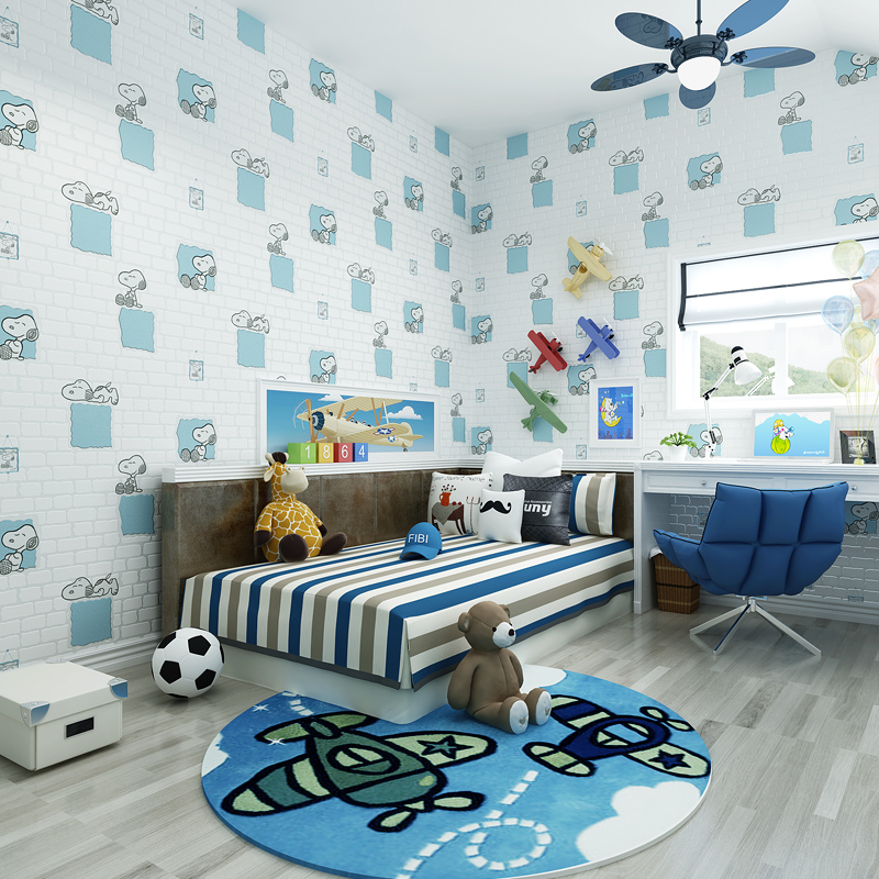 цена на Hot Sale Cartoon Dogs Embossed Brick Wall 3D Wall paper For Kid Room Bedroom Children Wallpaper Rolls Cozy Blue Pink Beige 36090