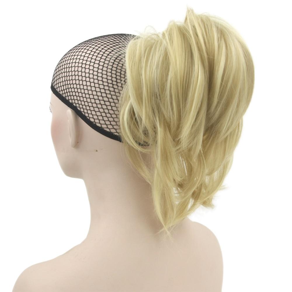 Soowee-extensiones de cabello con coleta rizada, postizo de pelo sintético Rubio Borgoña, Coleta, coleta