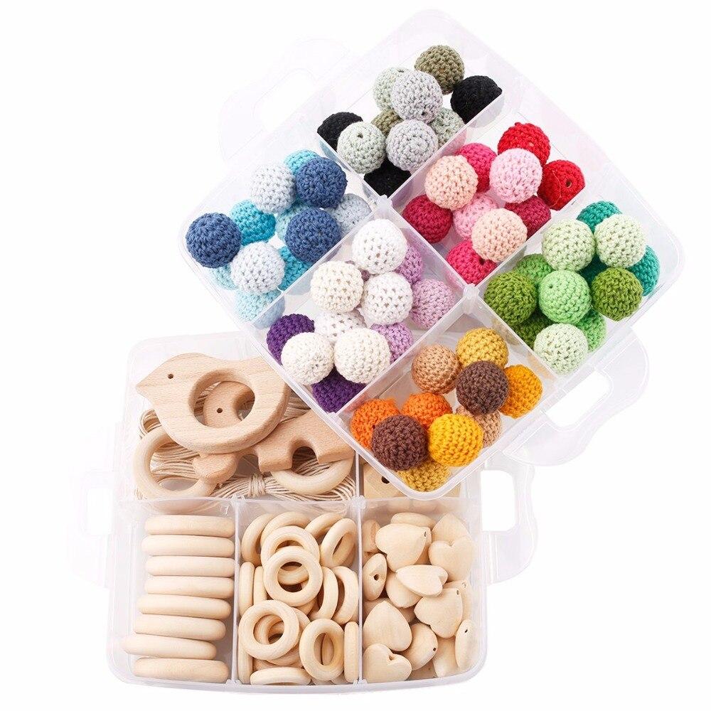 1 Set bricolage artisanat cadeaux Crochet perles perles en bois jouets de dentition fait à la main faisant collier Bracelet pendentif en bois bébé produits - 2