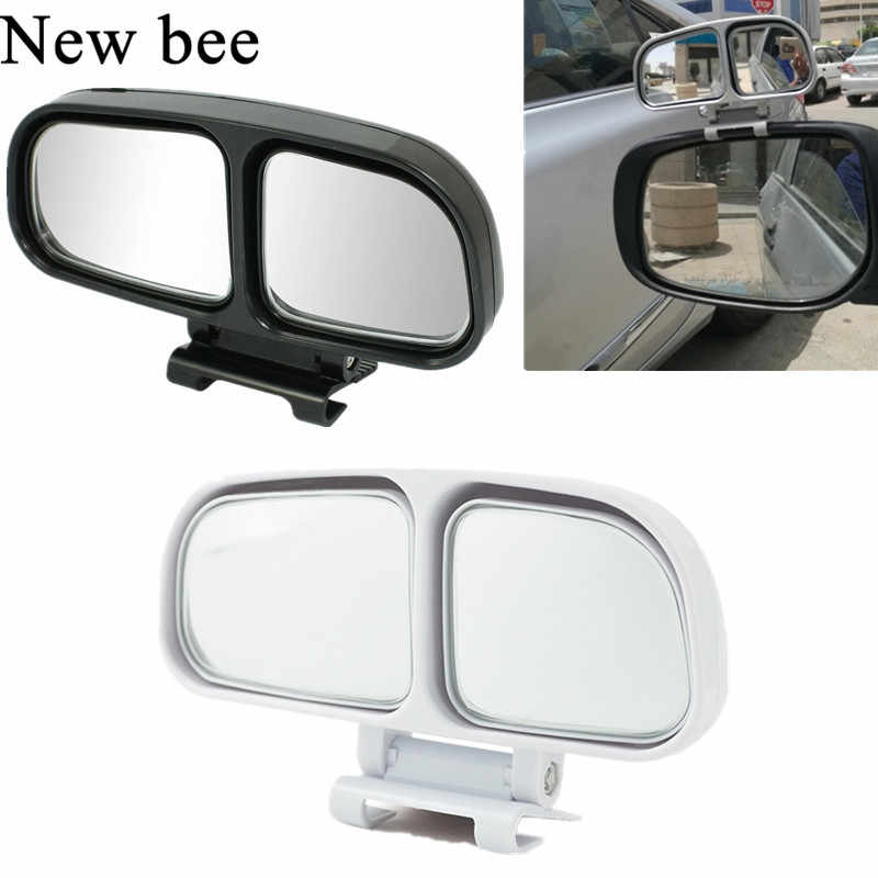Newbee Adjustable HD Wide Angle Square Convex Blind Spot Mirror Car Truck Van Motorcycle Snap Way Auxiliary Parking Rear View