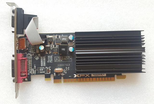 Placa de vídeo XFX HD5450 1G placa gráfica Independente 1G dual graphics mudo half-height HD HDMI cartão de faca placa gráfica