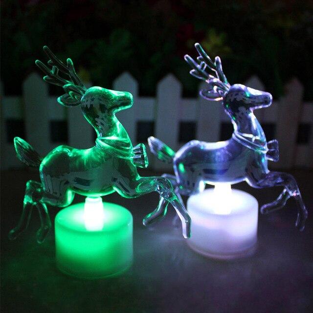 2 stuks Kleurrijke LED Acryl Rendier Nachtlampje lamp speelgoed Voor ...