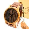 Bobo bird h08 homens relógio de quartzo relógios com tiras de couro de madeira de bambu de luxo relojes mujer marca de lujo
