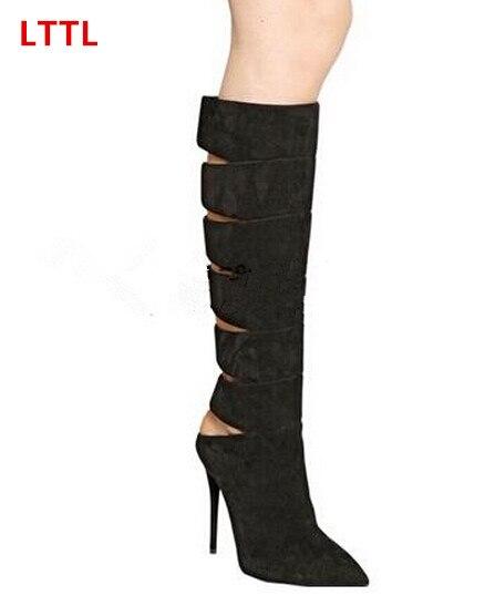 Brand LTTL black thin high heels pointed toe knee high boots back cut-outs side zipper super high heels spring autumn long boots