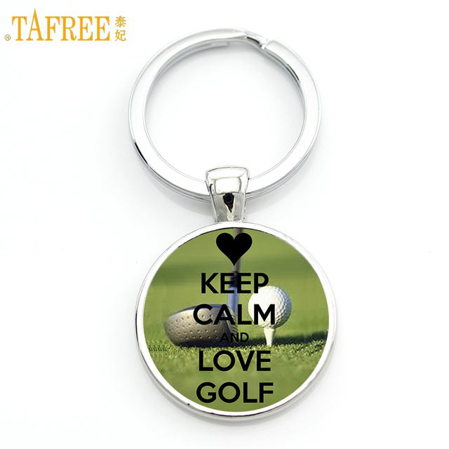 TAFREE Brand men women fashion Keep calm and Love Golf key chain ring holder casual sports lover keychain jewelry gifts SP22