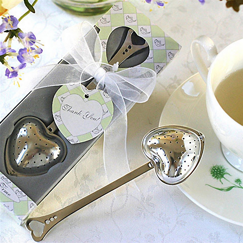 Kitchen Dining Bar 1pc Heart Shape Stainless Steel Tea Infuser Spoon Strainer Handle Shower free shipping wholesale A10