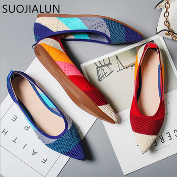 цена на SUOJIALUN 2019 Spring Women Flats Pointed Toe Slip on Ballet Flat Shoes Shallow Boat Shoes Woman Loafer Ladies Shoes Zapatos