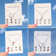 Assorted One Week Earrings Necklace Deer Heart Crystal Studs Jewelry Set Women