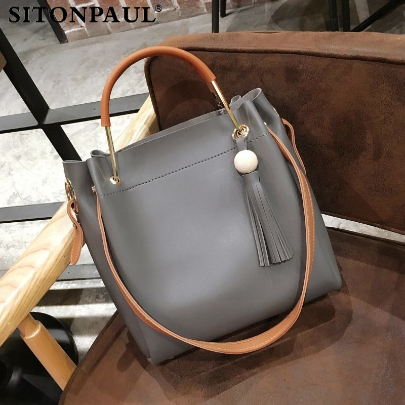 все цены на SITONPAUL 2017 Luxury Brand Tassel Bucket Bags for Women Handbags Top-handle Bag Tote Leather Lady Handbag Shoulder Bag Designer онлайн