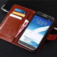 A15-Funda de cuero estilo Vintage para móvil, Cartera de lujo con soporte para tarjetas para Samsung Galaxy Note 2 II note2 N7100 7100 N7105