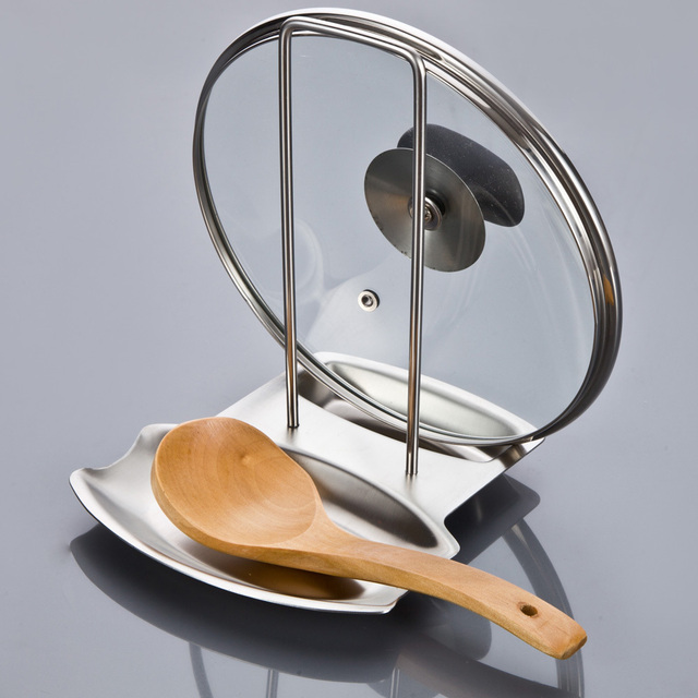 Stainless Steel Pan Pot Rack Cover Lid Rack Stand Spoon Holder Unique  Design Holder Kitchen Tool