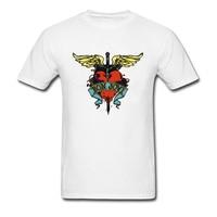 100 Cotton Bon Jovi Heart Print Men White T Shirt Vintage Style Short Sleeve Clothing High