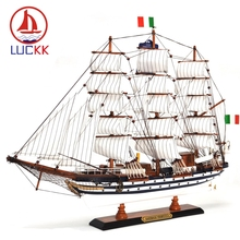 Luckk 65 センチメートルamerigo vespucci木製帆船ボートモデル現代の家庭のインテリアアクセサリー手芸船おもちゃ飾り