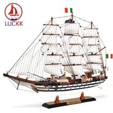 Luckk 65cm amerigo vespucci modelo de barco à vela de madeira moderna casa decoração interior acessórios artesanato navios brinquedos ornamento