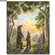 Diy Diamond Painting Cross Stitch Bear & Butterfly In The Woods Needlework Embroidery Full Round Mosaic Decoration Resin