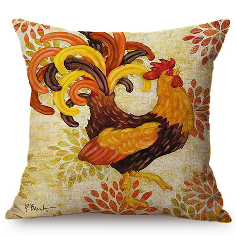 Colorful Cock Oil Painting Art Chicken Rooster Throw Pillow Cover Home Decorative Cotton Linen Sofa Cushion Cover Car Pillowcase M093-2