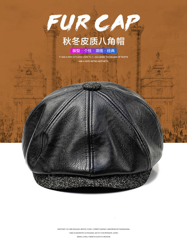 b337842095f40 New Autumn Winter PU Leather Hat Newsboy Cap Men Beret Fashion Octagonal  Hats Outdoor Men's Caps Gorras Casquette