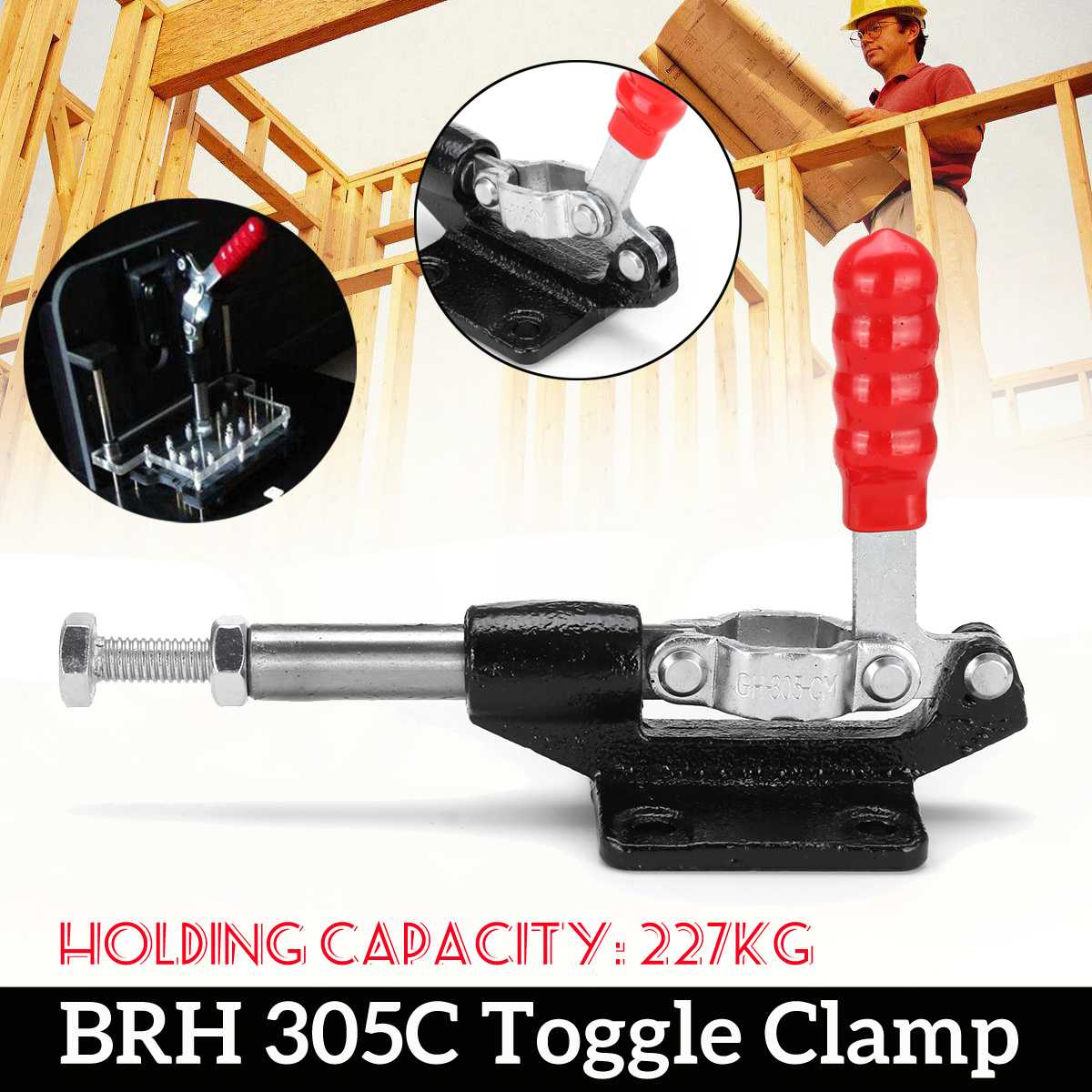 GH305C Toggle Clamp BRH 500 Lbs 32mm Plunger 227Kg Holding Capacity Push Pull Toggle Clamp