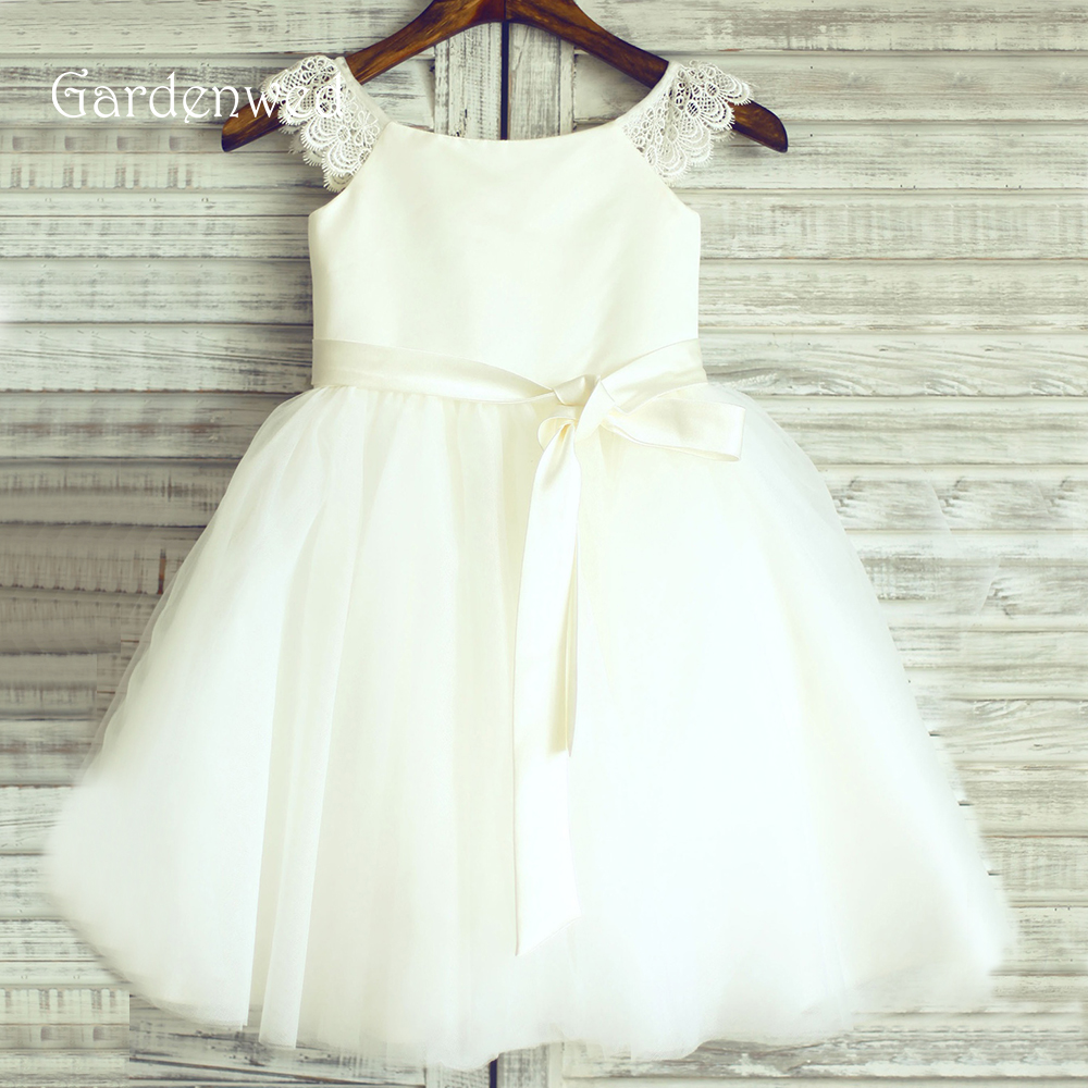 Gardenwed High Quality 2019 Flower Girl Dresses For Weddings Ivory White Kids Tulle First Communion Dresses Formal Party Gowns