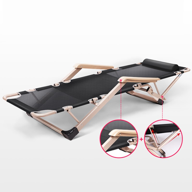 Foldable Camping Bed/Cot Strong Meatal Folding Lounger Heavy Duty Chaise Lounge for Beach Home Office Noon Break Rest Quick Nap цена