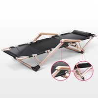 Foldable Camping Bed/Cot Strong Meatal Folding Lounger Heavy Duty Chaise Lounge for Beach Home Office Noon Break Rest Quick Nap