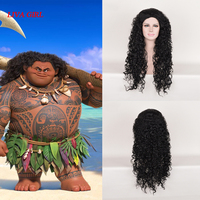 2018 New Arrival Film Moana Prince Maui Black Fluffy Long Hair Cosplay Curly Wig with Hair net Maui costume Free Shipping