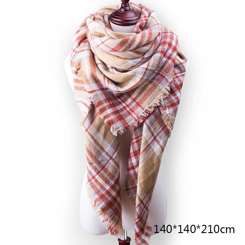 Горячая Распродажа, Модный зимний шарф, Женские повседневные шарфы, Дамское Клетчатое одеяло, кашемировый треугольный шарф,, Прямая поставка - Цвет: A8