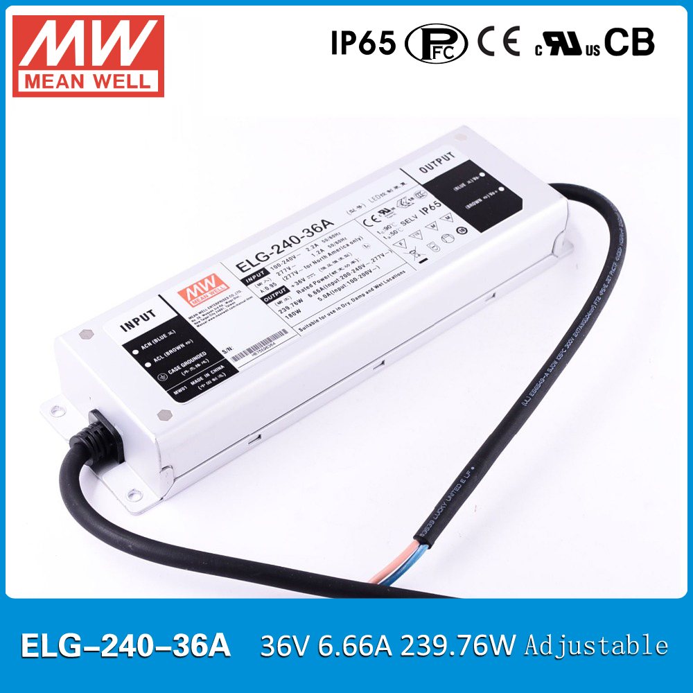 Original MEAN WELL ELG 240 36A 240W 36V 6 66A IP65 adjustable Power Supply Meanwell LED