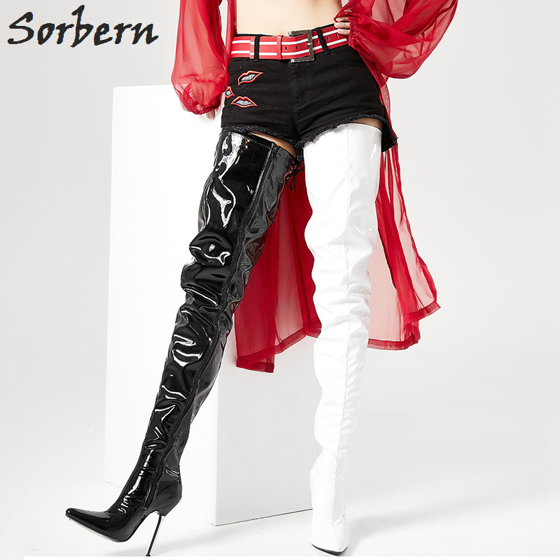 Sorbern Black White Women Shoes Size 43 Boots Ladies Stilettos Metal High Heels For Girls Supreme