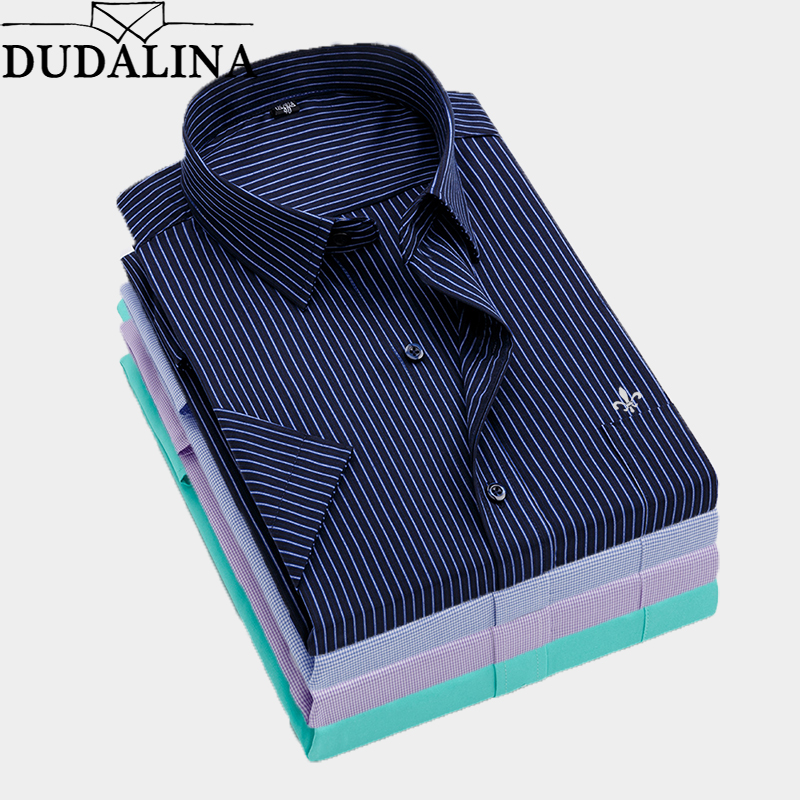 Dudalina Summer Slim Fit Casual Shirts Short Sleeve Striped Shirt Social Men Dress Shirts Chemise Homme