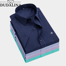 Dudalina Summer Slim Fit Casual Shirts Short Sleeve Striped