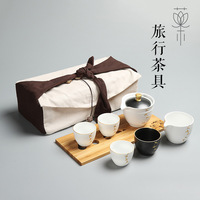Ceramic tea set suit travel tea set suit business outdoor car ceramic kung fu tea set bamboo tea tray