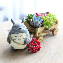 Kawaii Cartoon Cute Adorable Creative Chinchilla Cat Cartoon  Farming Cart Design Flower Pot Succulent Planter Desk Decor