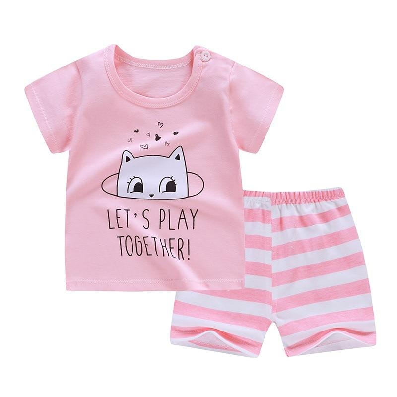 2020 New Children's Sets Summer Short Sleeve Boys Clothes Set Cotton Girls Clothes Two-Piece Body Suit Quality Kids Clothes Set