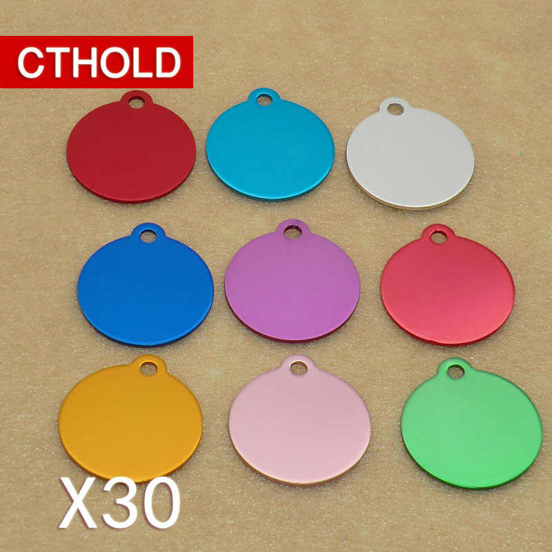 CTHOLD 30pcs Round with hole cat dog id tag Aluminum Blank Colorful plate diy engraving name tell address new Cat Collar Pendant