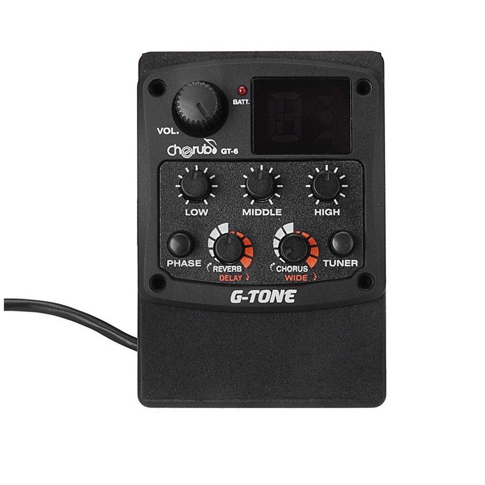 MSOR-Cherub g-tone GT-6 préampli guitare acoustique micro piézo-électrique 3 bandes égaliseur EQ accordeur LCD avec effets Reverb/Chorus