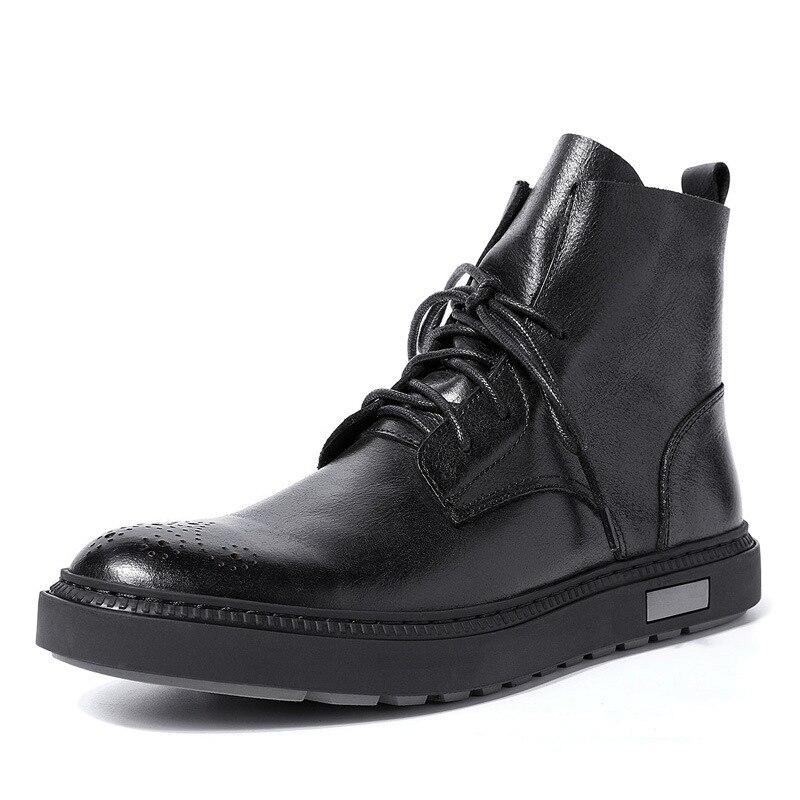 Véritable cuir bottes d'équitation britannique hommes all-match vachette automne hiver bottes de cowboy hommes chaussures décontractées hommes bottes militaires homme