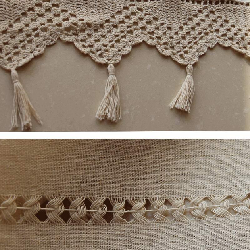 Coton Lin Crochet Pays Style Balcon Maison Cuisine Linge Broderie ...