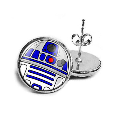 USa Movie Star Wars robot bb8 1pair/lot stud earrings Steampunk pendant silver bronze mens womens 12mm/0.47inch Doctor dr Who image
