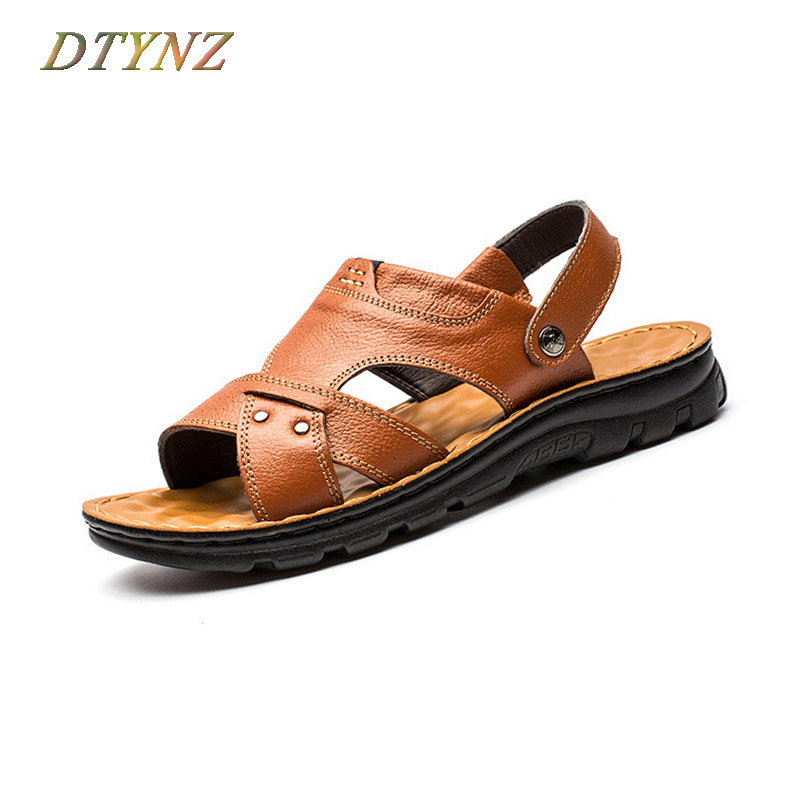 DTYNZ Men Casual Sandles Genuine Leather Fashion Foot Massage New 2018 Summer Male Breathable Footwears Sapatos Hembre Masculino
