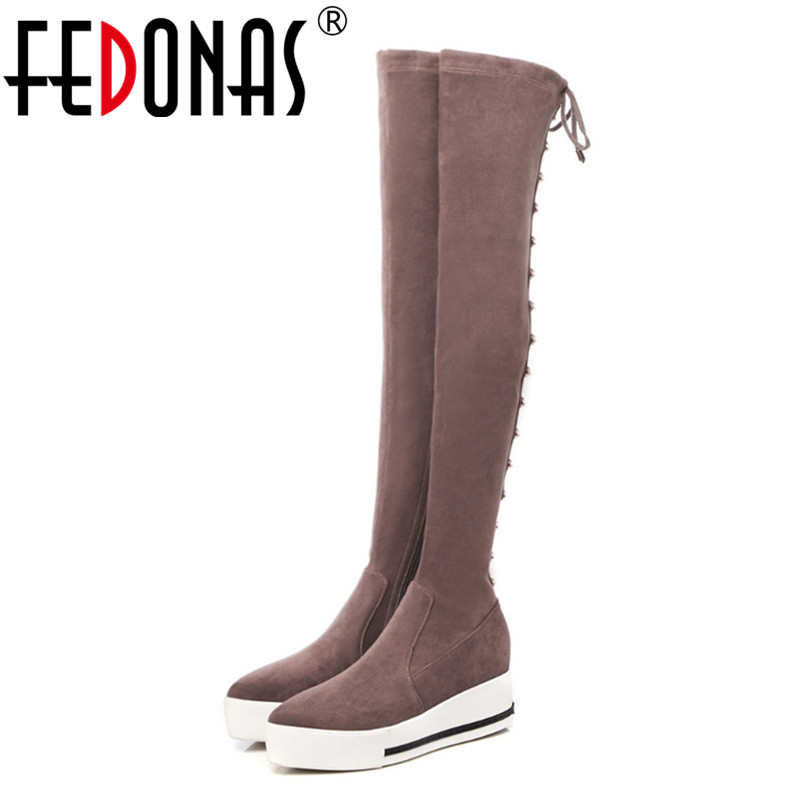 FEDONAS Punk Women Over The Knee High Boots Long Warm Autumn Winter Rivets Night Club Party Shoes Woman Platforms High BootsFEDONAS Punk Women Over The Knee High Boots Long Warm Autumn Winter Rivets Night Club Party Shoes Woman Platforms High Boots